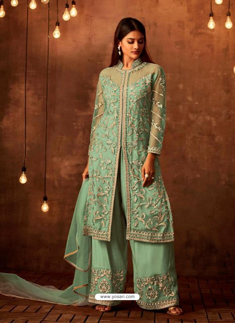 Ravishing Sea Green Embroidered Palazzo Salwar Suit