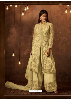 Ravishing Khaki Embroidered Palazzo Salwar Suit