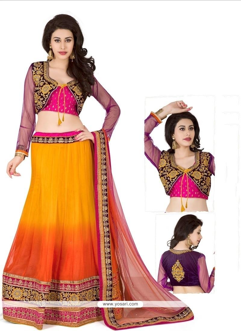 Modish Orange Georgette Designer Lehenag Choli