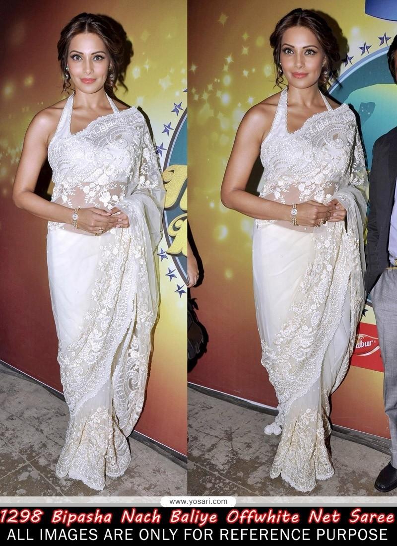 Bipasha Basu Off White Net Saree