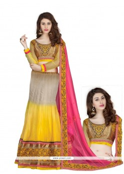 Grey And Yellow Georgette Lehenga Choli
