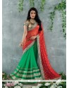 Red And Green Chiffon Jacquard Designer Saree
