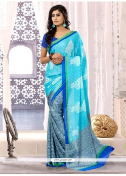 Turquoise Blue Chiffon Satin Casual Saree