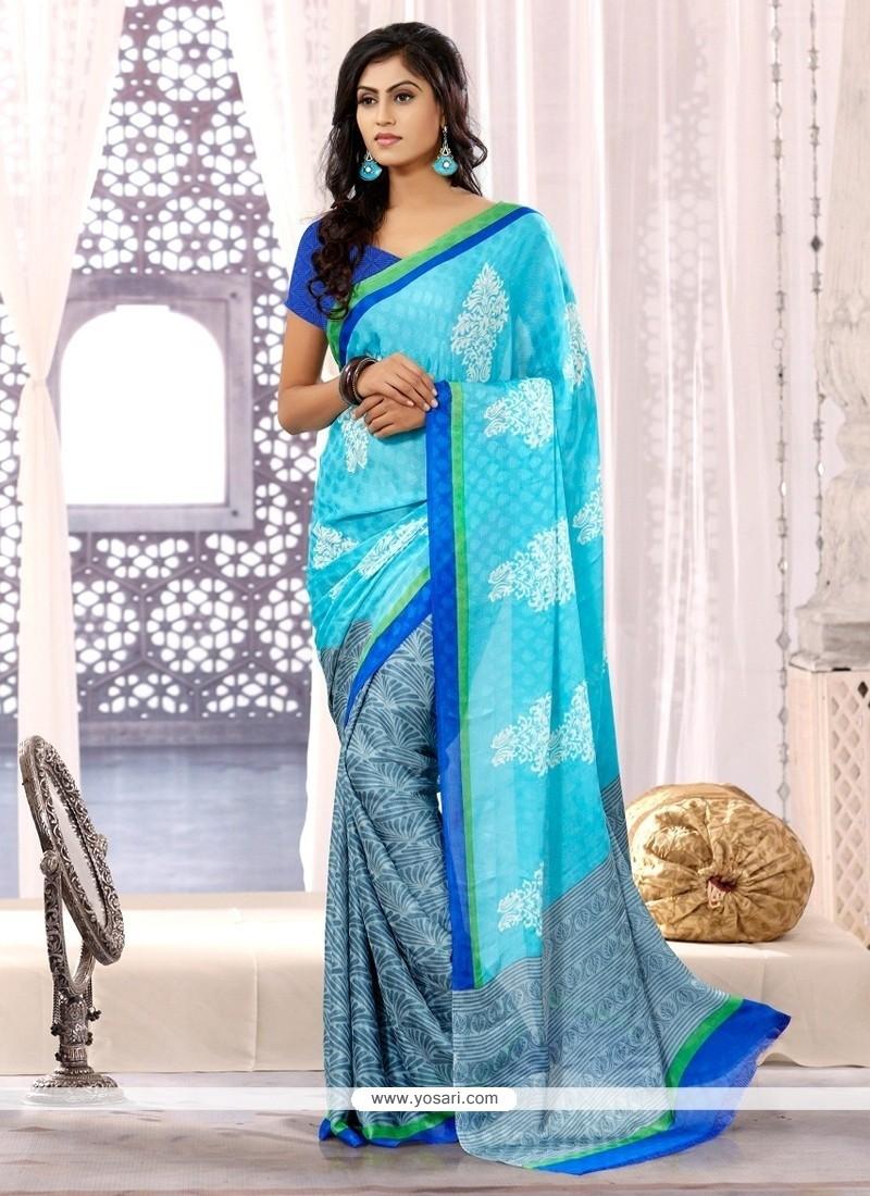 Turquoise Blue Chiffon Satin Casual Saree