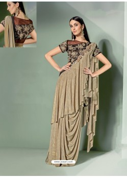 Awesome Beige Designer Lycra Sari