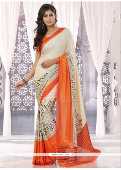 Off White Satin Jacquard Casual Saree