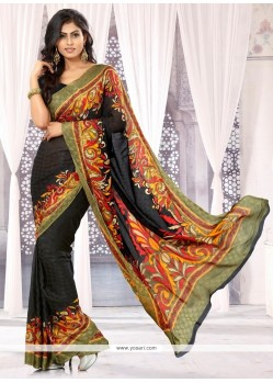 Awesome Black Chiffon Satin Casual Saree