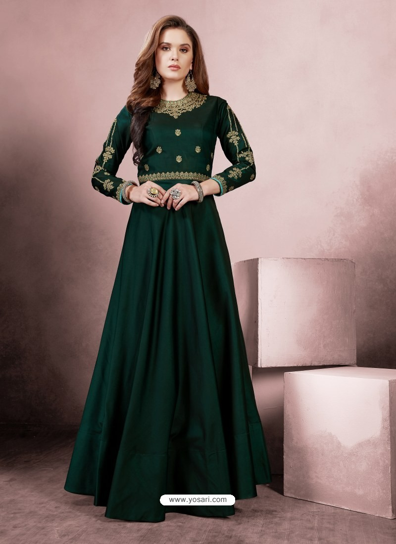 Stylish Dark Green Party Wear Gown for Girls