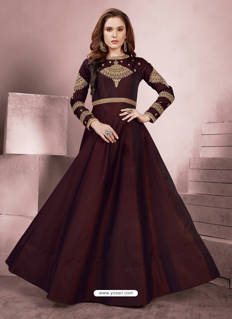 Trendy Maroon Party Wear Gown for Girls