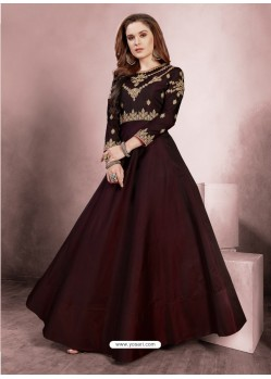 Sizzling Maroon Party Wear Gown for Girls