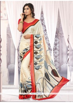 Off White Jacquard Casual Saree