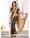 Fabulous Black Printed Chiffon Satin Saree