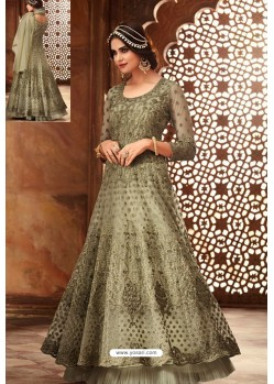 Scintillating Olive Green Embroidered Designer Anarkali Suit