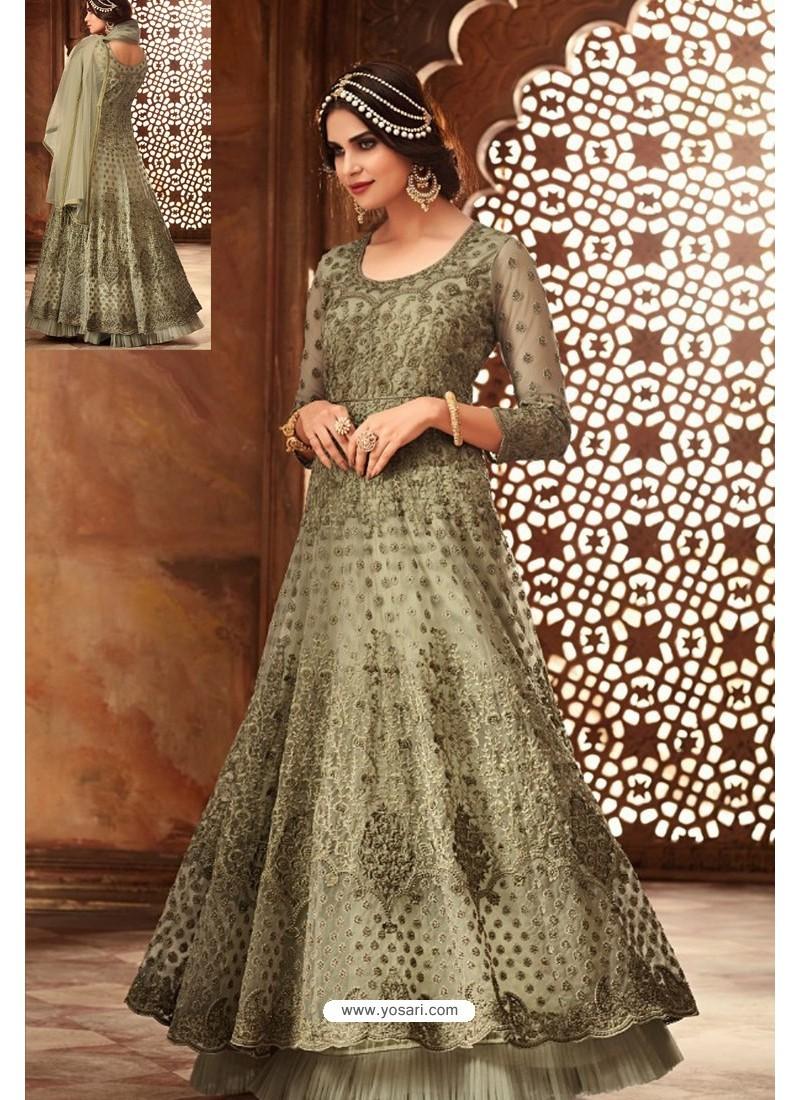 4c9524f1e0 Buy Scintillating Olive Green Embroidered Designer Anarkali Suit ...