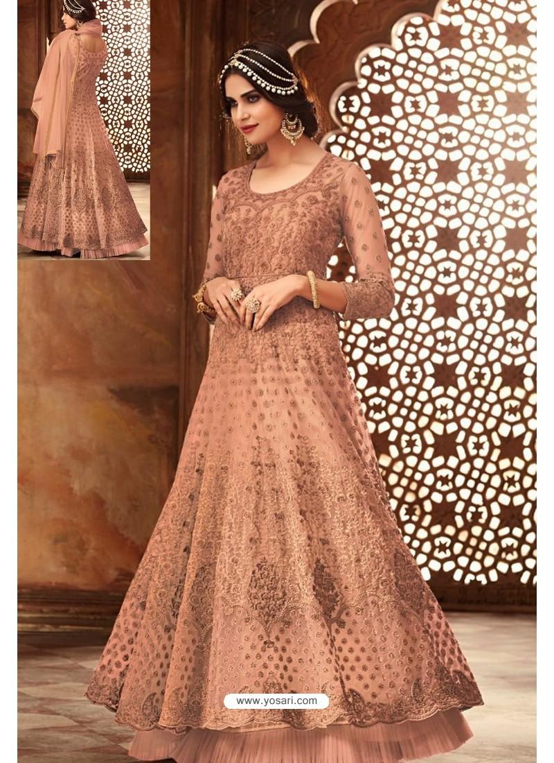 Scintillating Rust Embroidered Designer Anarkali Suit