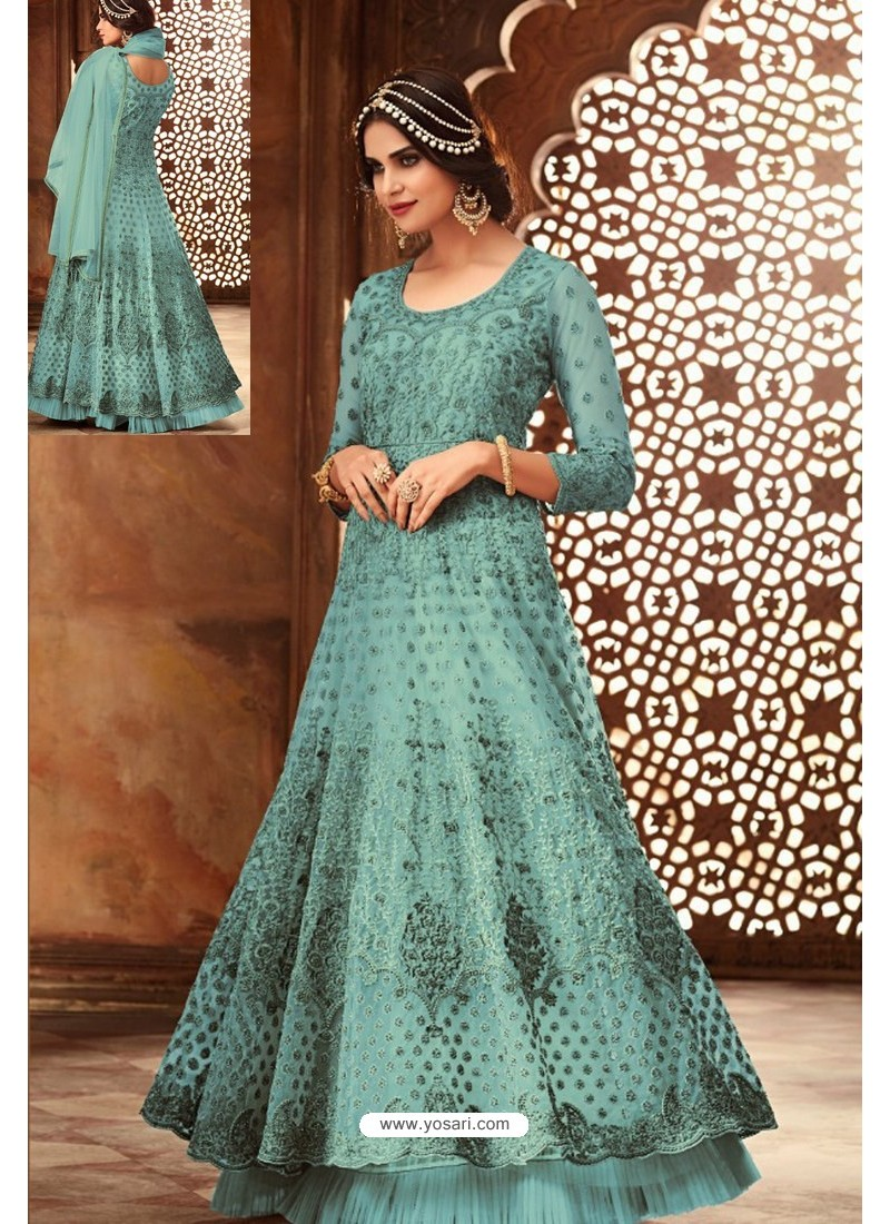 Awesome Turquoise Embroidered Designer Anarkali Suit