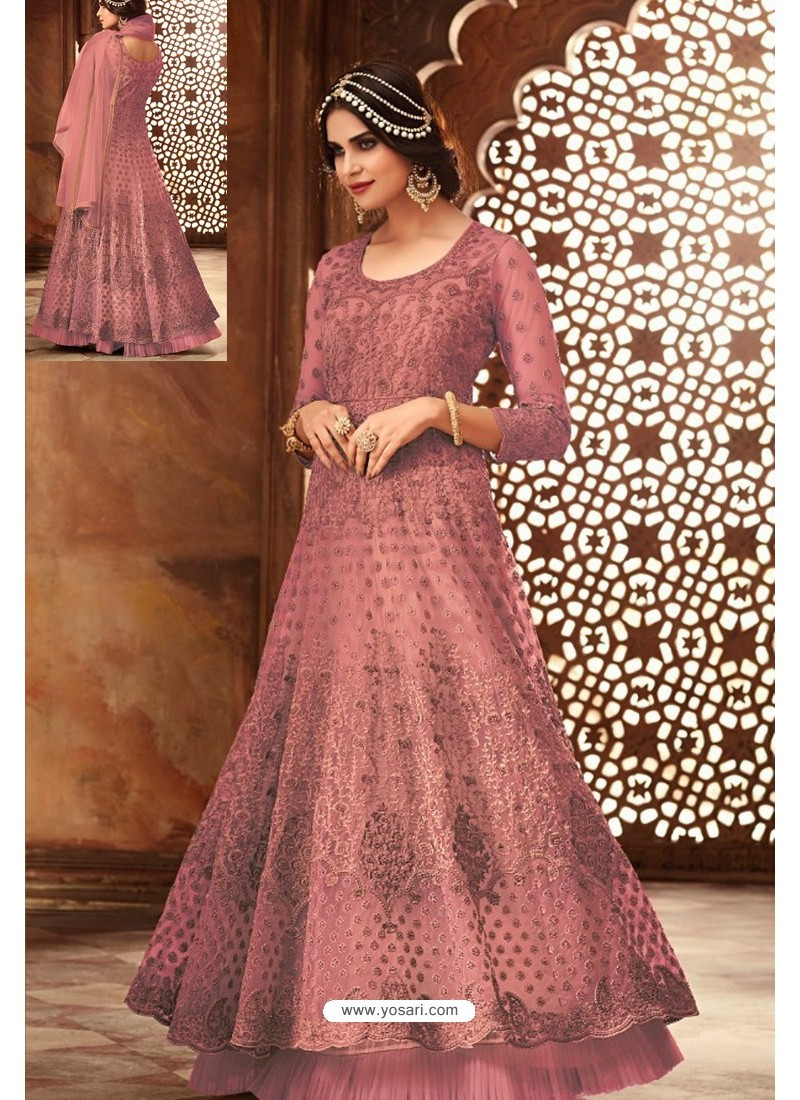 Fabulous Old Rose Embroidered Designer Anarkali Suit