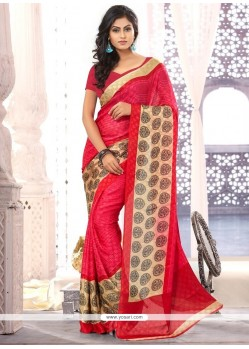 Hot Pink And Red Printed Casual Saree