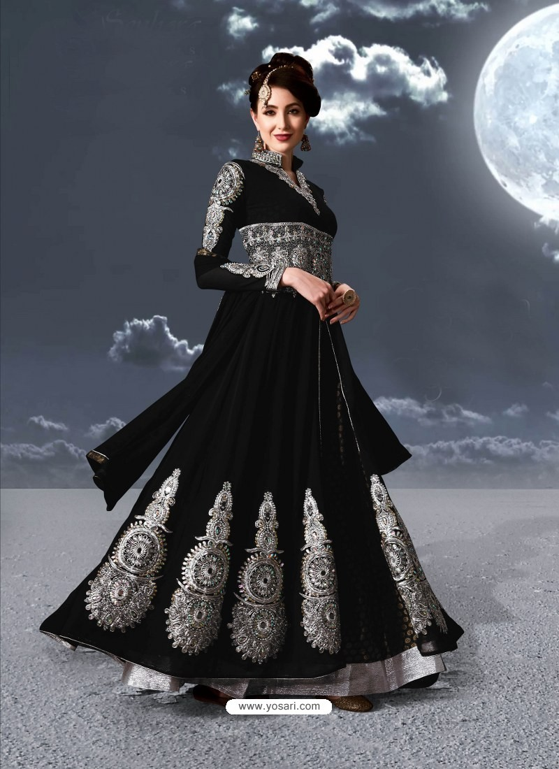 Fabulous Black Embroidered Designer Anarkali Suit