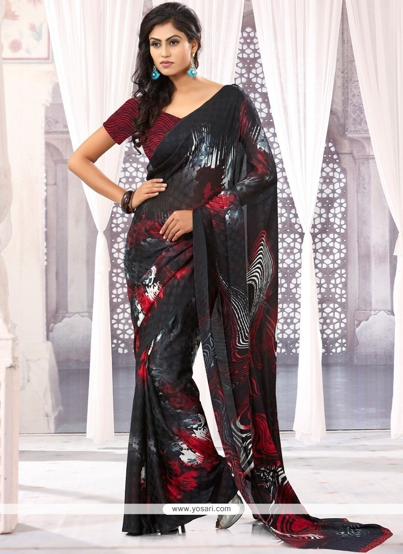 Celestial Black Chiffon Satin Casual Saree