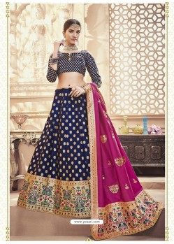 Scintillating Navy Blue Heavy Embroidered Wedding Lehenga Choli