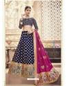 Scintillating Navy Blue Heavy Embroidered Wedding Lehenga Choli