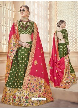 Scintillating Mehendi Green Heavy Embroidered Wedding Lehenga Choli
