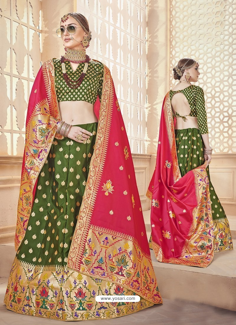 Scintillating Mehendi Green Heavy Embroidered Wedding Lehenga Choli
