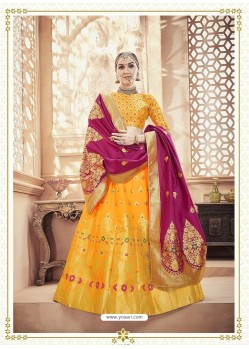 Scintillating Yellow Heavy Embroidered Wedding Lehenga Choli
