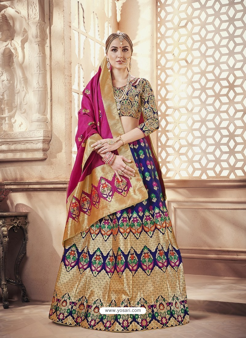 Scintillating Royal Blue Heavy Embroidered Wedding Lehenga Choli