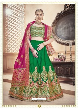 Scintillating Forest Green Heavy Embroidered Wedding Lehenga Choli