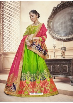 Scintillating Parrot Green Heavy Embroidered Wedding Lehenga Choli