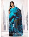 Exquisite Blue Printed Casual Saree