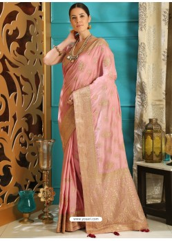 Awesome Pink Designer Silk Sari