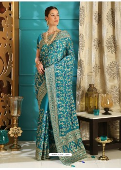 Trendy Blue Designer Silk Sari