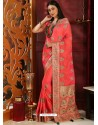 Trendy Dark Peach Designer Silk Sari