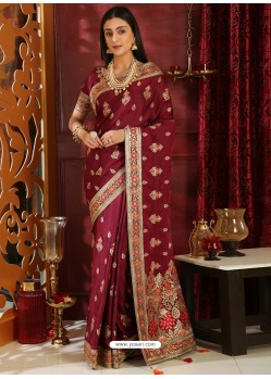 Awesome Maroon Designer Silk Sari