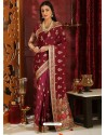 Awesome Maroon Designer Silk Sari