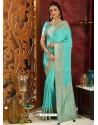 Trendy Sky Blue Designer Silk Sari