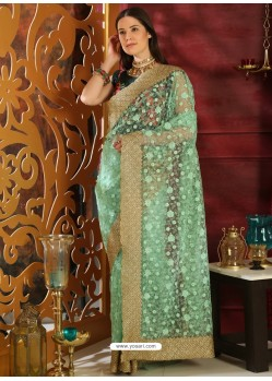 Trendy Sea Green Designer Silk Sari