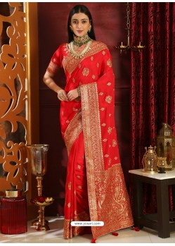 Trendy Red Designer Silk Sari
