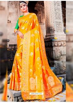 Classy Orange Designer Banarasi Silk Sari