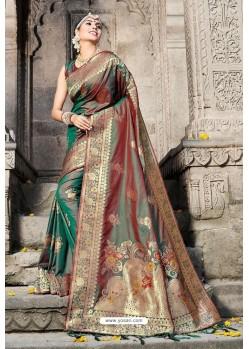 Classy Dark Green Designer Banarasi Silk Sari