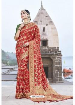 Classy Red Designer Banarasi Silk Sari