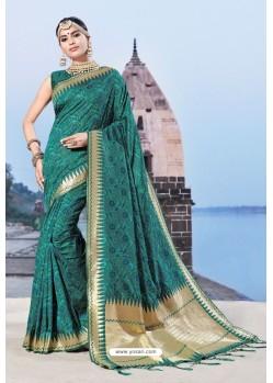 Classy Teal Designer Banarasi Silk Sari