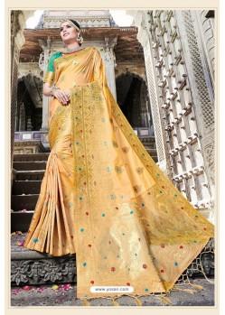 Classy Cream Designer Banarasi Silk Sari