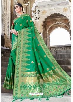 Classy Forest Green Designer Banarasi Silk Sari