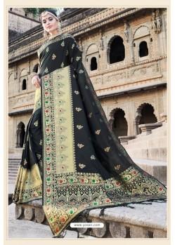 Classy Black Designer Banarasi Silk Sari