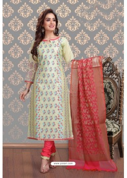Ravishing Olive Green Embroidered Designer Churidar Salwar Suit