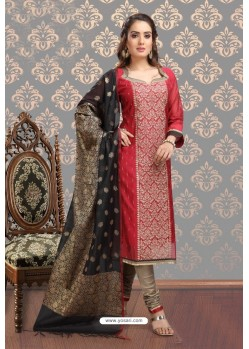 Scintillating Red Embroidered Designer Churidar Salwar Suit